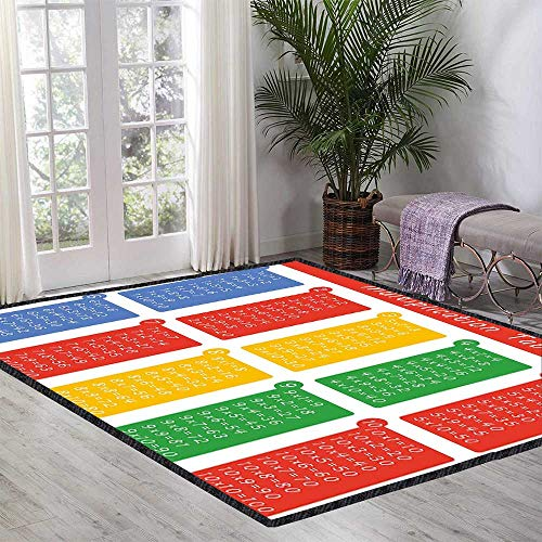 - Educational Floor Rug Colorful Classroom Multiplication Table Between One to Ten Elementary School for Various Areas 39.37 Inch x 62.99 Inch Multicolor