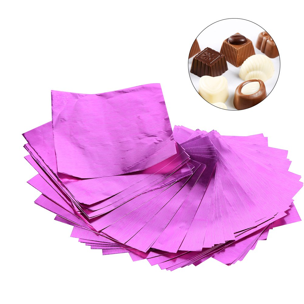 Candy Bar Wrappers, Asixx 100Pcs/Lot Square Candy Sweets Chocolate Lolly Foil Wrappers Confectionary 3'' X 3'' Multicolors(100Pcs)(Fuchsia)