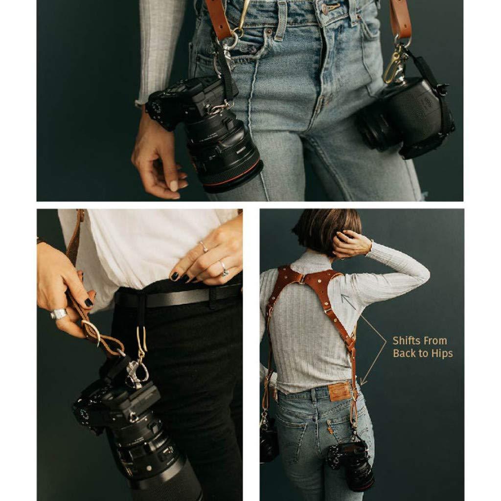 KCPer Camera Strap Accessories for Two-Cameras - Dual Shoulder Leather Harness - Single/Dual Shoulder Camera Neck Strap Leather Adjustable SLR/DSLR Brown (C Dual Shoulder) by KCPer