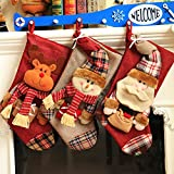 """Peicees 18""""Extra-Large Classic 3D Applique Style Felt Christmas Stockings for Fireplace Decorative Santa Stockings Gift bag(Pack of 3)"""