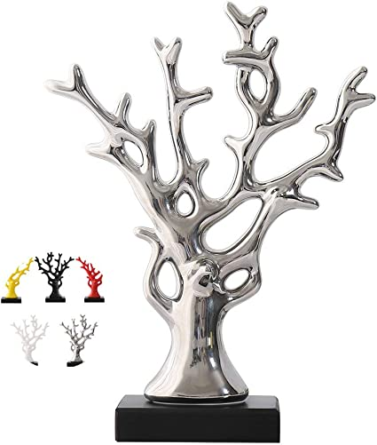 WEIDILIDU Ceramic Statue Modern Style – Ceramic Silver Vase – Silver Home Decor – Pottery Decorative Sculpture – Creative Home Souvenirs Collections Wedding Supplies Silver 695