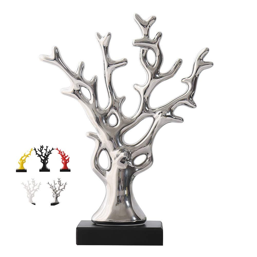 WEIDILIDU Ceramic Statue Modern Style - Ceramic Silver Vase - Silver Home Decor - Pottery Decorative Sculpture - Creative Home Souvenirs Collections Wedding Supplies (Silver 695)
