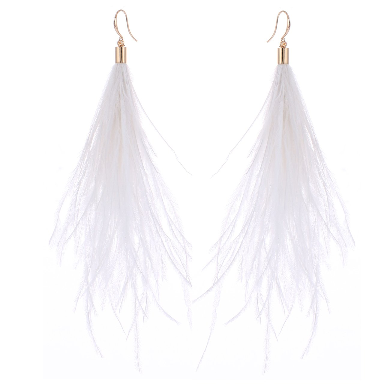 Women Long Dangle Earring Feather Elegant Thread Feather Jewelry for Gift Winter Party Bohemian (White, gold-plated-copper)