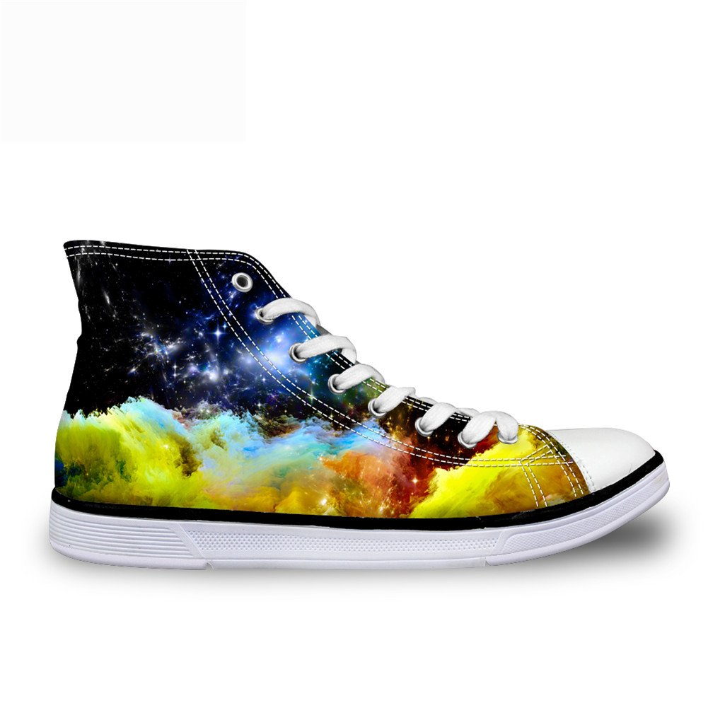 CHAQLIN Casual High Top Unisex Canvas Shoes Sneaker With Galaxy Printed for Women Mens US 5 B(M)=EUR 35|C4311ak