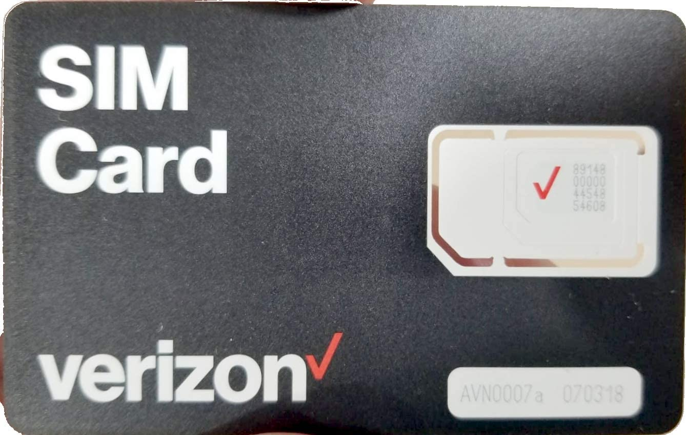 Verizon 3-in-1 Postpaid/Prepaid 4G LTE SIM Card, Nano/Micro/Standard Sized (Black, 3-in-1 4FF / 3FF / 2FF)