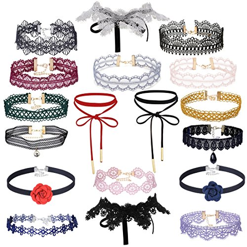 Tpocean 18Pcs Gothic Tatto Black Colorful Lace Red Flower Velvet Double Layer Lace-up Bowknot Choker Necklace with Long Pendant Set for Women Teen Girls (Choker Flower Set Necklace)