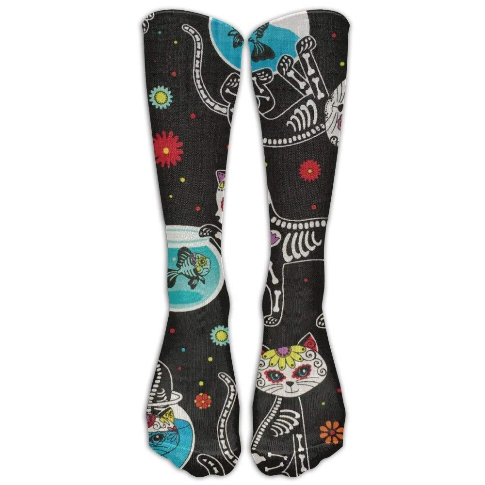 Style Unisex Socks Casual Knee High Stockings Sugar Skull Cat Skeleton Cotton Socks One Size