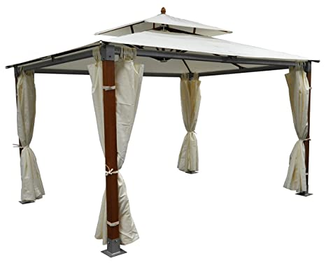 Gazebo In Legno 3x4 Prezzi.Samira Gazebo Da Giardino 3x4 In Legno Alluminio Amazon It