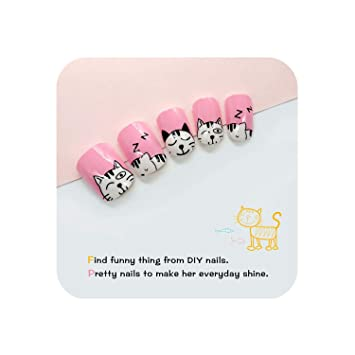 Amazon.com : False Nails 24Pcs Press On Kids False Nails For ...