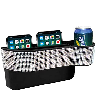 KONGDY Bling Car Seat Pocket Organizer Auto Gap Filler Crystal Car Seat Catcher Console Side Storage Box with Cup Holder for Car Interior Accessories Cellphone Wallet: Automotive