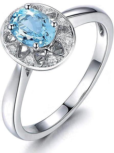 Blisfille Joyas Anillos Pareja Oro Rosa Anillo de Oval Anillo Compromiso Diamante Anillo de Plata de