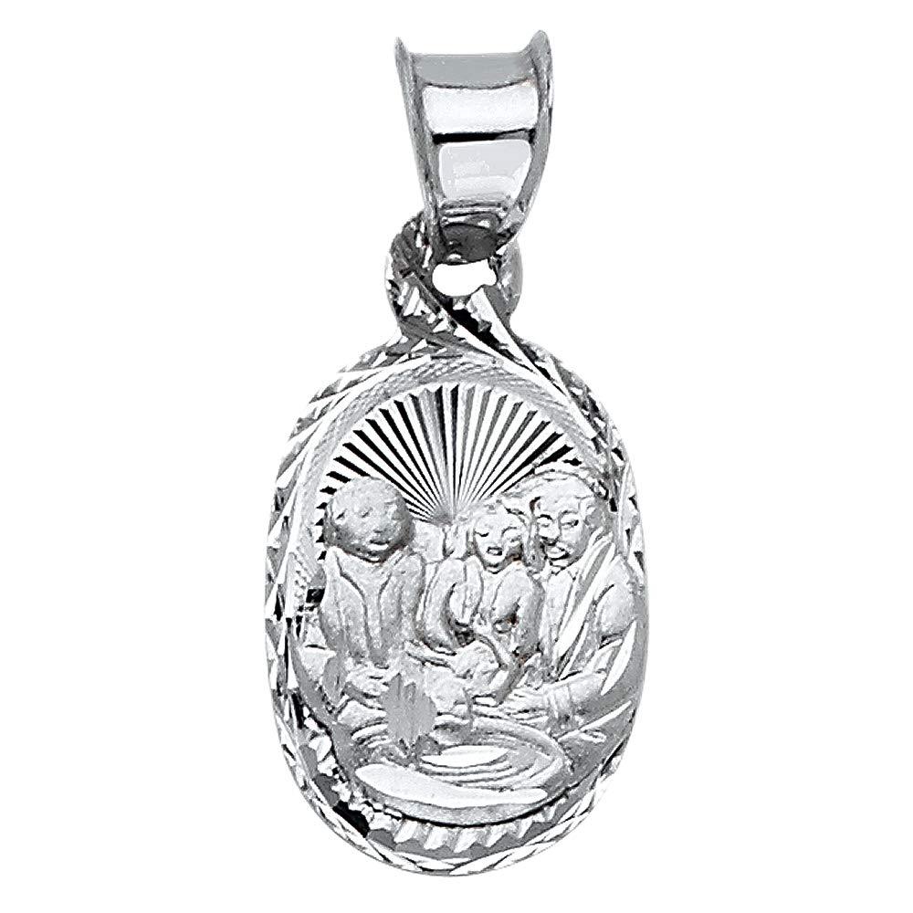Wellingsale 14K White Gold Polished Diamond Cut Religious Baptism Charm Pendant