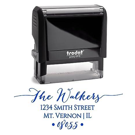 amazon com blue ink custom self inking return address stamp