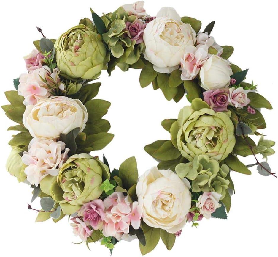 peon/ía Hecha a Mano vi/ña Corona Decorativa de Pared Sunneey para Puerta paisajismo Flores Artificiales para Exteriores