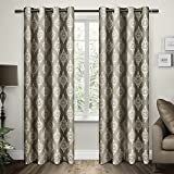 Exclusive Home Curtains Damask Cotton Grommet Top Window Curtain Panel Pair, Taupe, 54x84