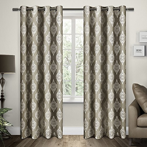 Exclusive Home Damask Print Grommet Top Window Curtain Panels 54