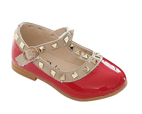 buy online 1d89a 24ac6 Qitun Mädchen Weiche Sohlen Mary Jane Halbschuhe Prinzessin Baby Ballerina  Sandalen Anti-Rutsch Taufschuhe