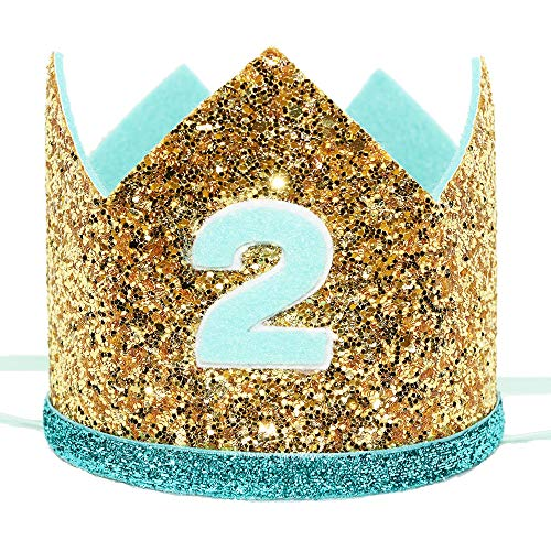 (Maticr Shiny 2nd Birthday Crown Baby Boy Prince Headband Party Supplies (Large Gold Mint)