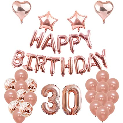 Amazon Puchod 30th Birthday Balloons Decorations Rose Gold Party Supplies 30 Foil Confetti Latex For