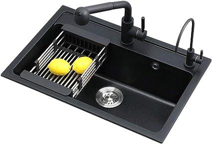 Color: Negro, Tama/ño: 50x43x22cm FSFF Fregaderos de Cocina Fregadero de Piedra de Cuarzo Cocina Granito de un Solo Canal Fregadero Grueso Paquete de Fregadero Taz/ón Doble