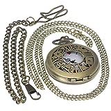 a96483f2d Bronce clásico latón antiguo funda reloj de bolsillo Fob Reloj para hombres  y mujeres con 1