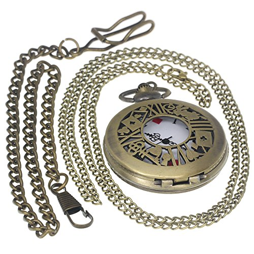 Bronze Poker Hollow Copper Skeleton Roman Numerial Case Arabic Dial Steampunk Men Women Gifts Alice in Wonderland Rabbit Pendant Poker Quartz Pocket Watches 1 PC Necklace 1 PC Clip Key Rib Chain