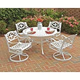 Home Styles 5552-325 Biscayne 5-Piece Outdoor Dining Set with Round Table and Swivel Chair, White Finish, 48-Inch For Sale