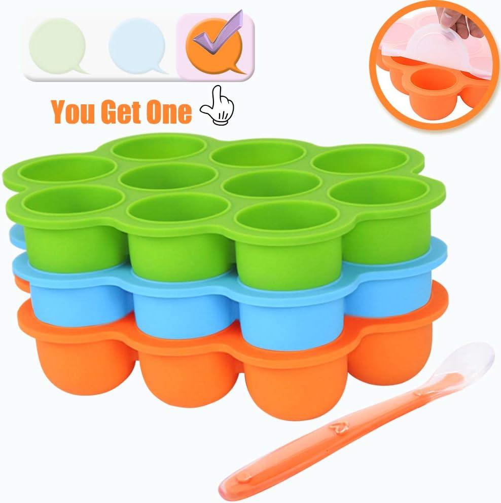 IAGORYUE Contenants de stockage de nourriture pour b/éb/é Sans BPA le lait maternel et le lave-vaisselle Orange Bac /à sevrer bac /à gla/çage pour b/éb/és Id/éal pour les pur/ées de fruits