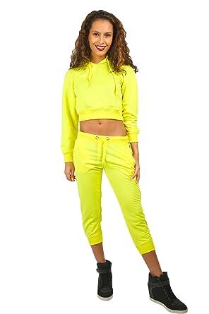 PARSA FASHIONS - Chándal - para mujer Amarillo Neon Yellow: Amazon ...