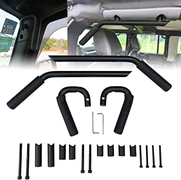 Sulythw Hunter Black Front/&Rear Grab Bar Brushed Hard Steel Wild Boar Grab Handle Kit for 2007-2017 Jeep Wrangler JK JKU