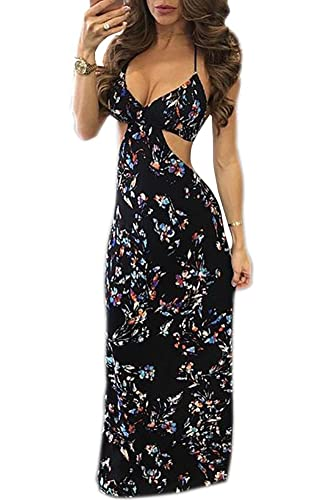 Mojessy Women's Halter Neck Backless Sleeveless Dress Vintage Floral Print Maxi Dresses