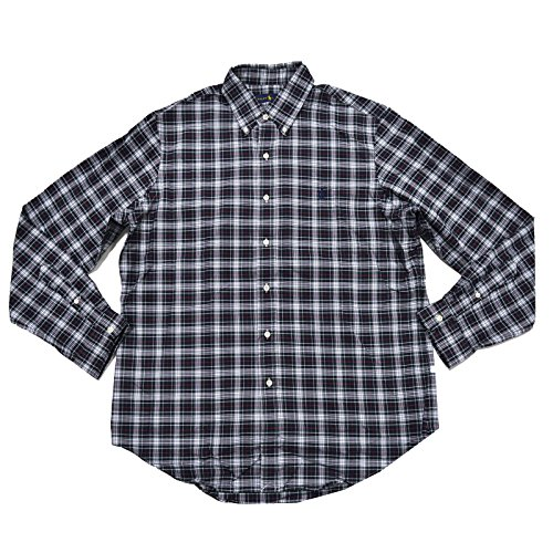 Down Shirt Green Button Plaid (Polo Ralph Lauren Mens Classic Fit Buttondown Oxford Shirt (M, Green/Navy Plaid))