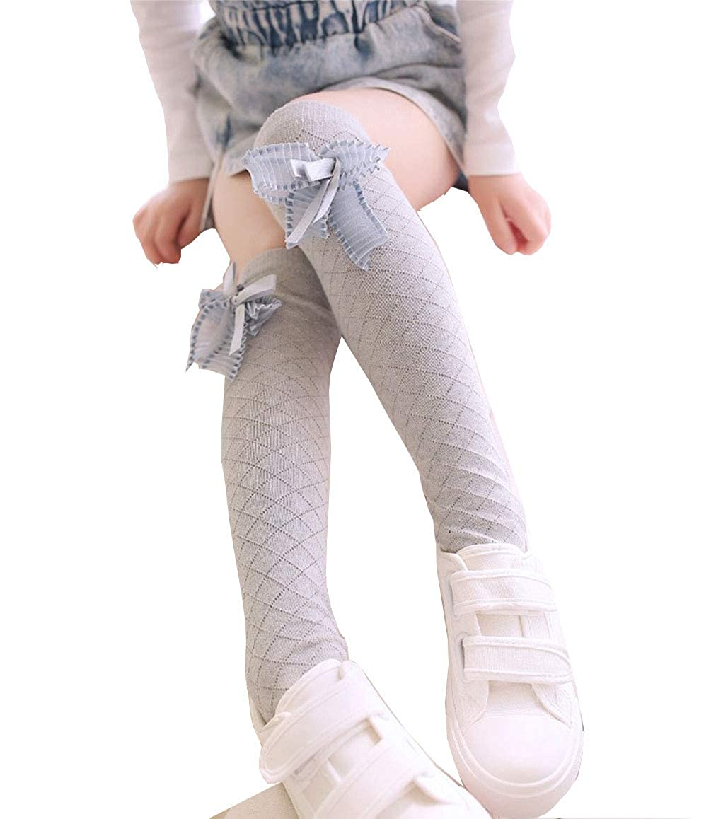 Girls High Knee Cute Bow Classic Warm Winter Solid Color Cotton Socks