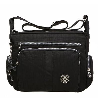 c853beb5ce Large Capacity Women s Casual Shoulder Bags Waterproof Multi Pockets Nylon Cross  Body Handbags (Black)