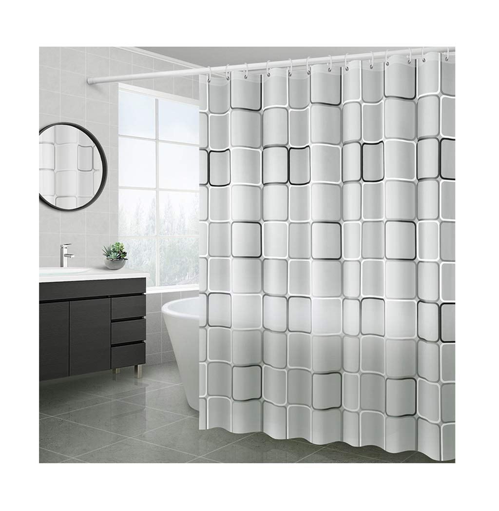 HTY Bathroom Shower Curtain, Free Punching Tarpaulin Shower Partition Bathroom Curtain Toilet Cover Curtain with Shower Rod (Size : 200200cm)