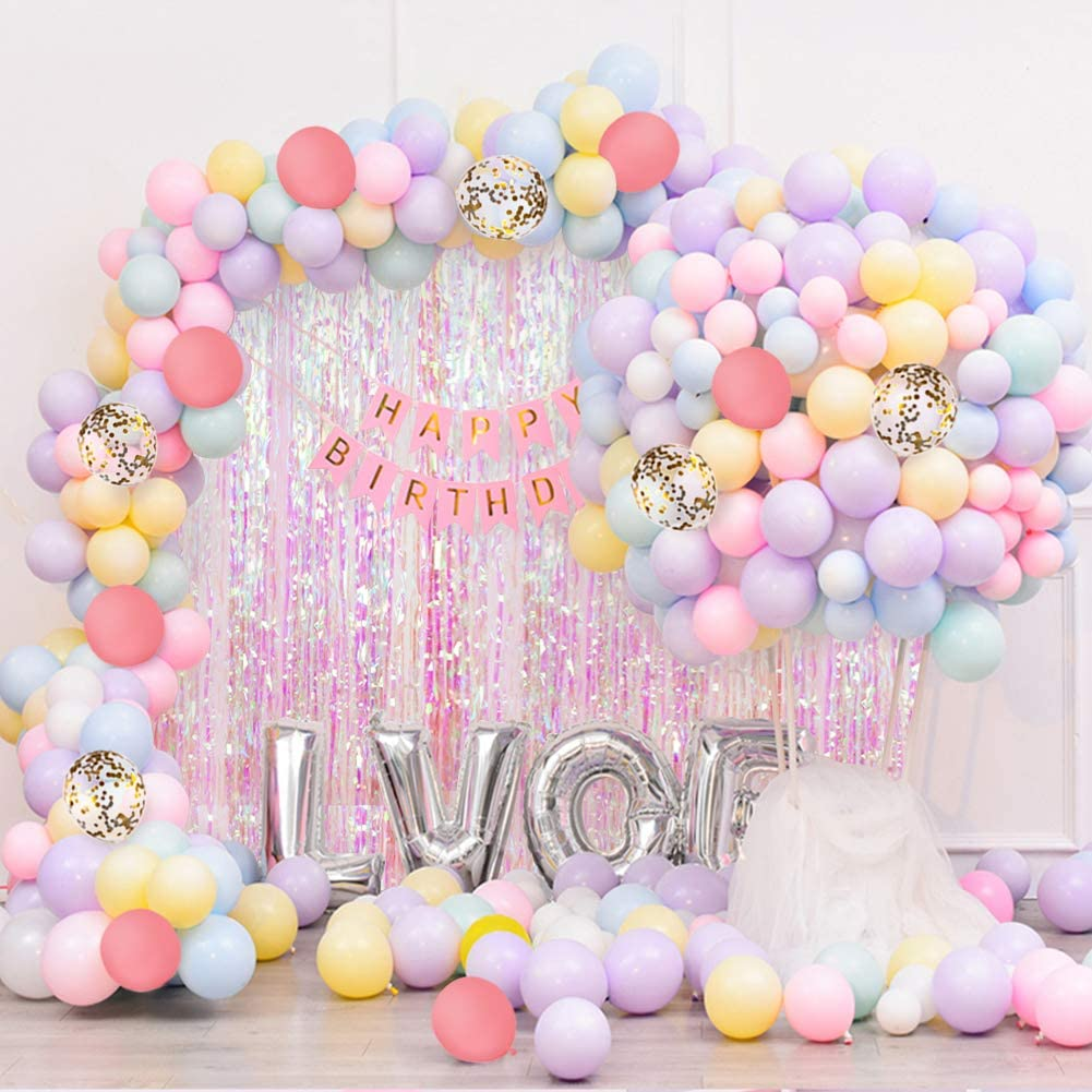 121pcs Pastel Macaron Mint White Balloons Garland Arch Kit Gold Confetti Balloon Decorations for Baby Shower Birthday Wedding Party Supplies
