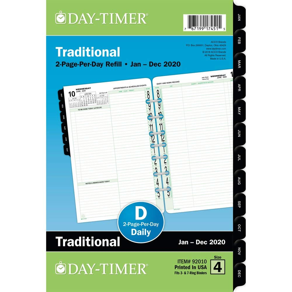 Day-Timer 2020 Daily Planner Refill, 5-1/2'' x 8-1/2'', Desk Size 4, Two Pages Per Day, Loose Leaf, Traditional (92010) by Day-Timer