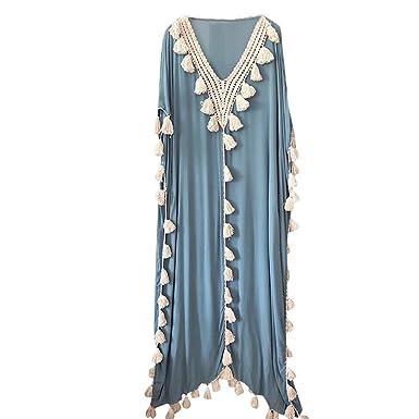 3b0882dd1c9 TEBAISE Bohème des Femmes Robe Longue Ethnique Style Pompon Plage Vacances d été  Robe de soirée  Amazon.fr  Vêtements et accessoires