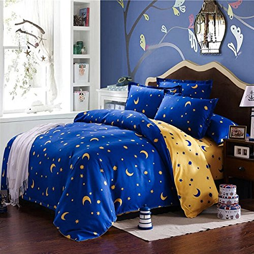 C&C Products 4pcs Bedding Suit Polyester Fibre Star Moon Reactive Printed Bedding Sets