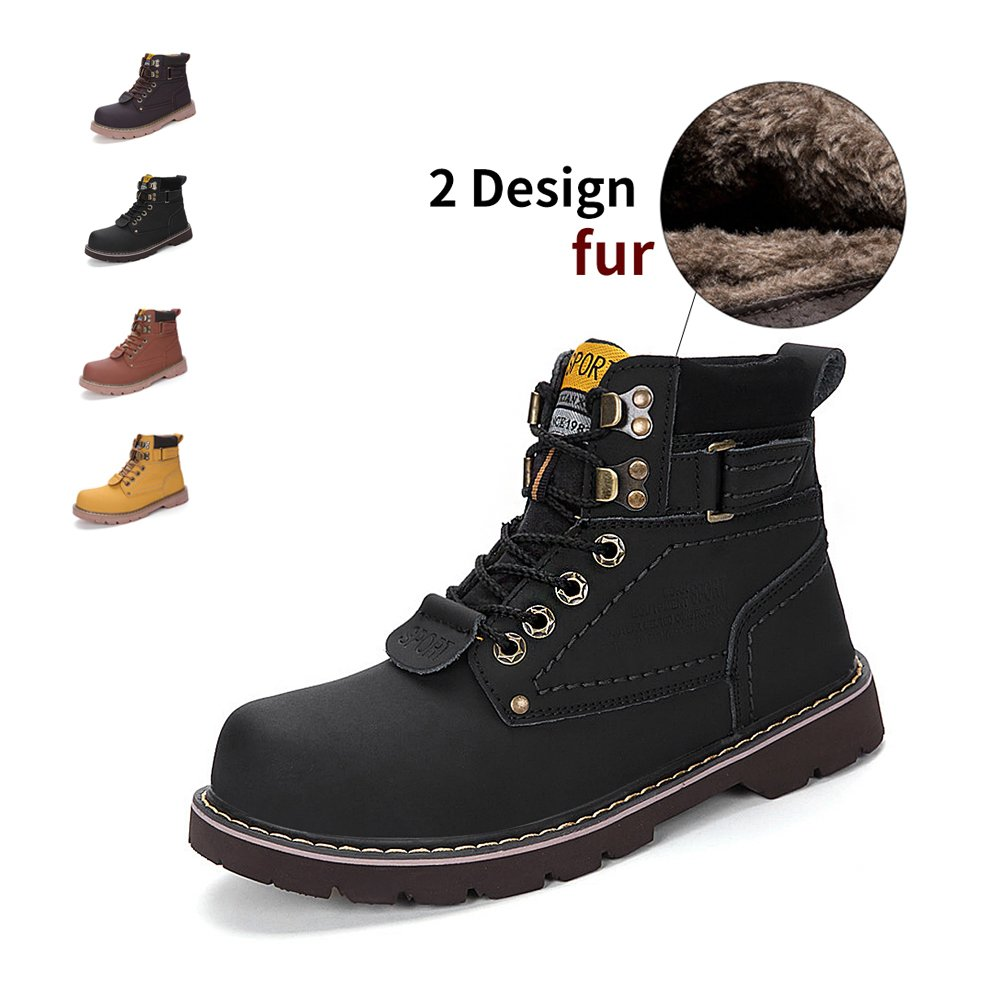 ENLEN&BENNA WomenMen's Work Boots Safety Boots Composite Toe Cap Waterproof Tan Casual Motorcycle Boot Lightweight
