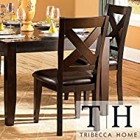 Metro Shop Tribecca Home Acton Warm Merlot X-back Casual Dining Side Chairs (Set of 2)