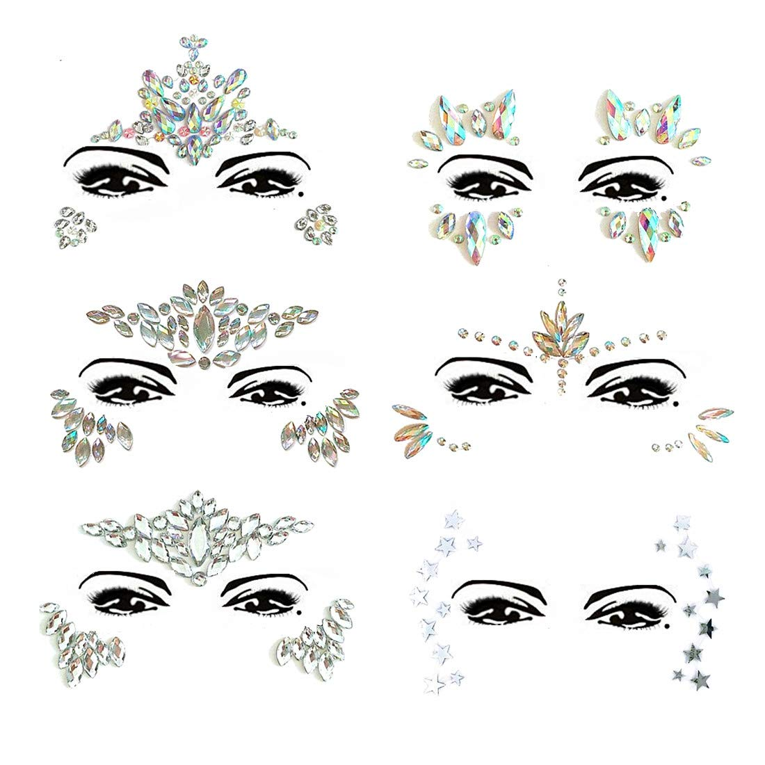 Gemas de la cara, HuaER 8 Set Tatuaje temporal de cara Brillo de cara Mermaid Unicorn Jewels Maquillaje de niña Cristales Pegatinas Adhesivo de diamantes de imitación cara para Fiesta Rave Party Adornos de ojos Bindi Face Body Jewels Decoraciones