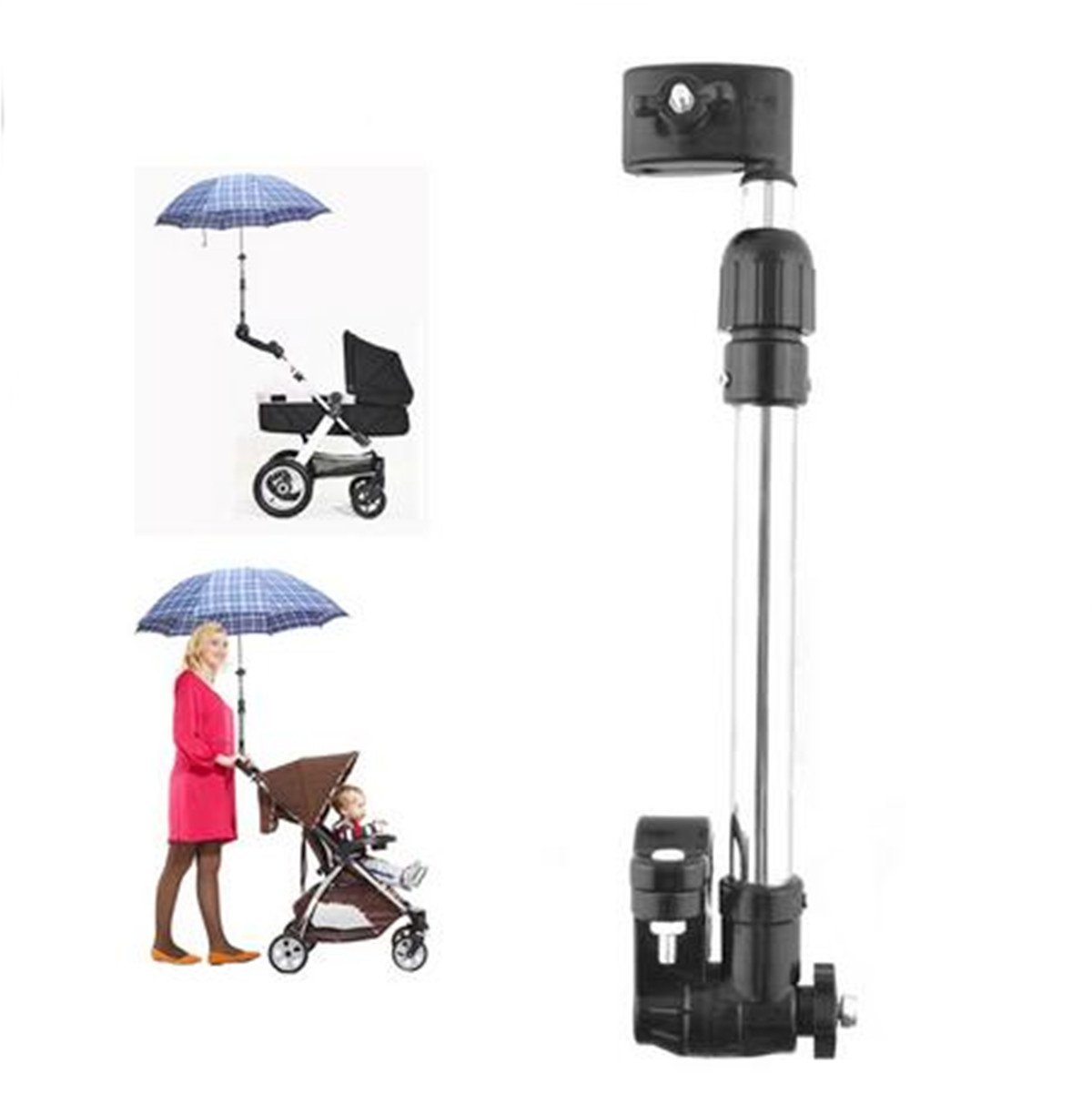 Yosoo Portable Adjustable Baby Stroller Pram Bicycle Chair Umbrella Bar Stand Holder Mount Stand Bracket Connector Accessories Cycling Bicycle Wheelchair