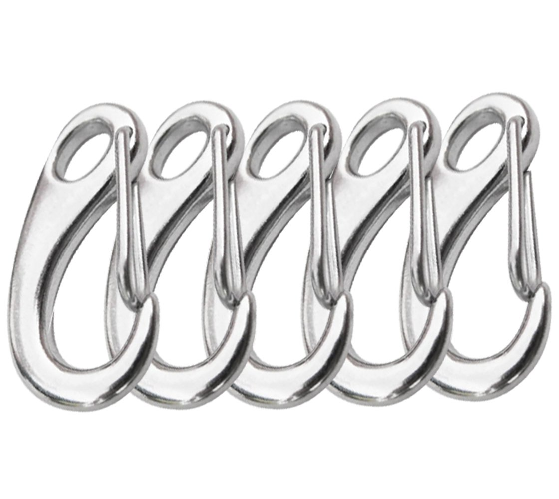 304 Stainless Steel Egg Shaped 2 Inch Length Snap Hook Carabiner 5-PACK A-Flower