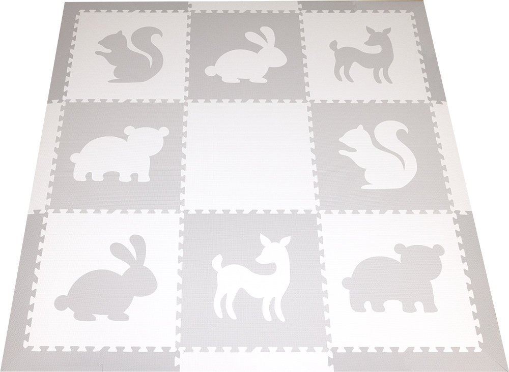 SoftTiles Woodland Animals Foam Playmat | Kids Floor Mats | Non-Toxic Baby Play Mat w/Sloped Edges for Playrooms and Nursery- Extra Thick 2 Foot Floor Tiles (6.5' x 6.5') (White, Light Gray) SCWOOWH