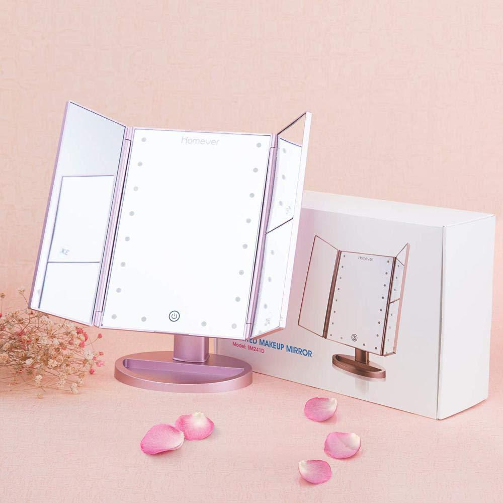 2x 3x con 21 illuminanti a LED Touchscreen///Specchio rotante pieghevole a 180 gradi///USB e doppia Specchio per il/trucco/Specchio per il/trucco/con illuminazione/Ingrandimento///1x