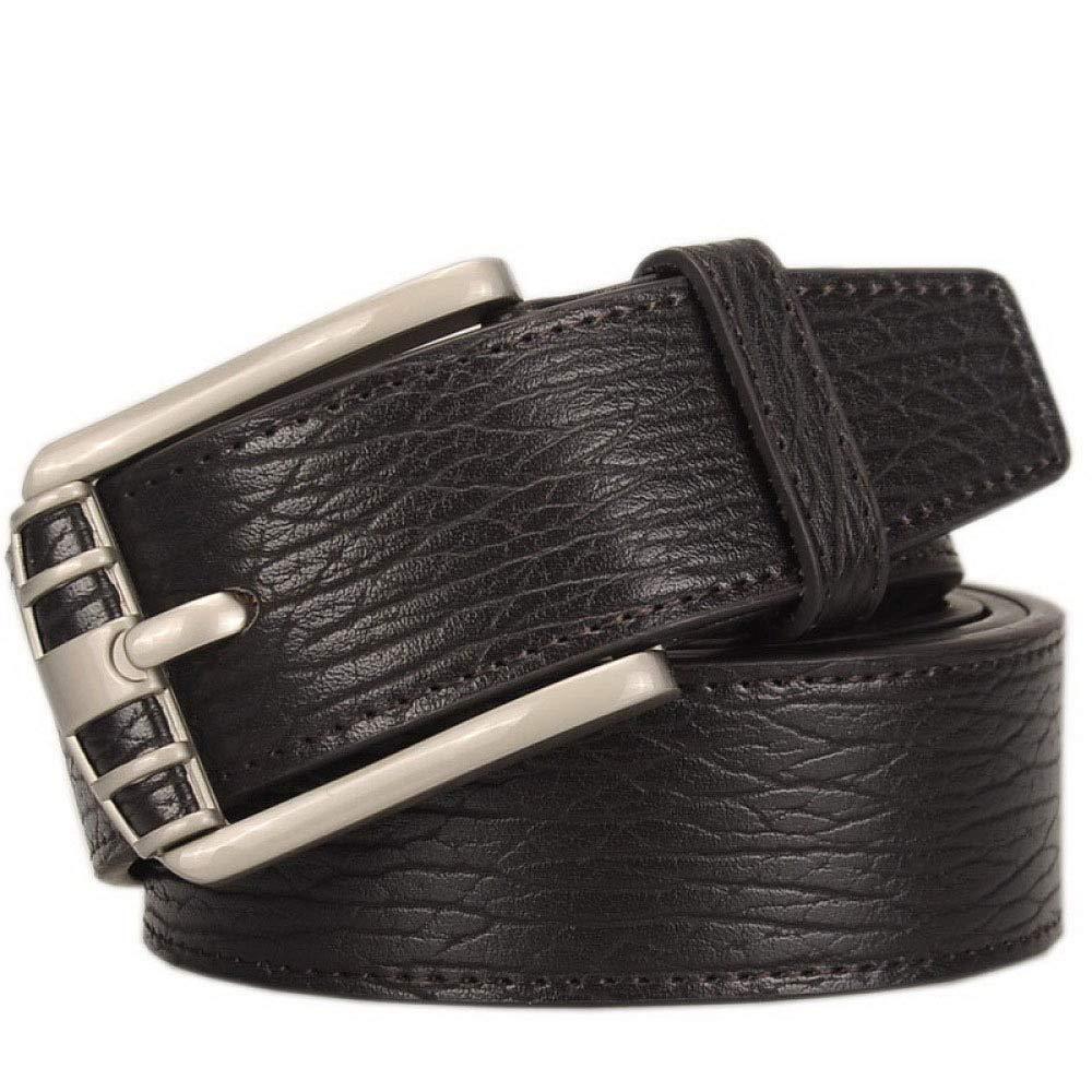 DENGDAI Mens Leather Belt with Golden Needle Buckle Belt