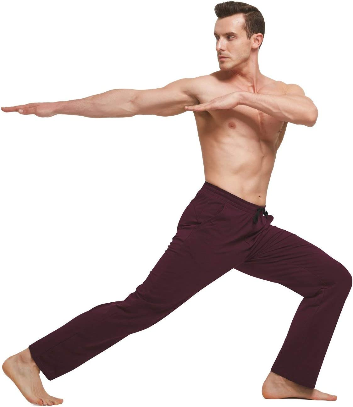 BALEAF Mens Cotton Yoga Sweatpants Open Bottom Joggers Straight Leg Running Casual Loose Fit Athletic Pants with Pockets