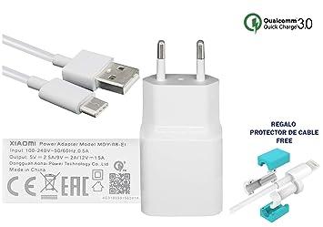 TPC - Cargador Original Xiaomi MDY-08-EI (18W) USB-C Carga Rapida 3.0 para Mi 5, Note 2, Mi Mix, Mi 6, Mi MAX 2, Blanco + Regalo