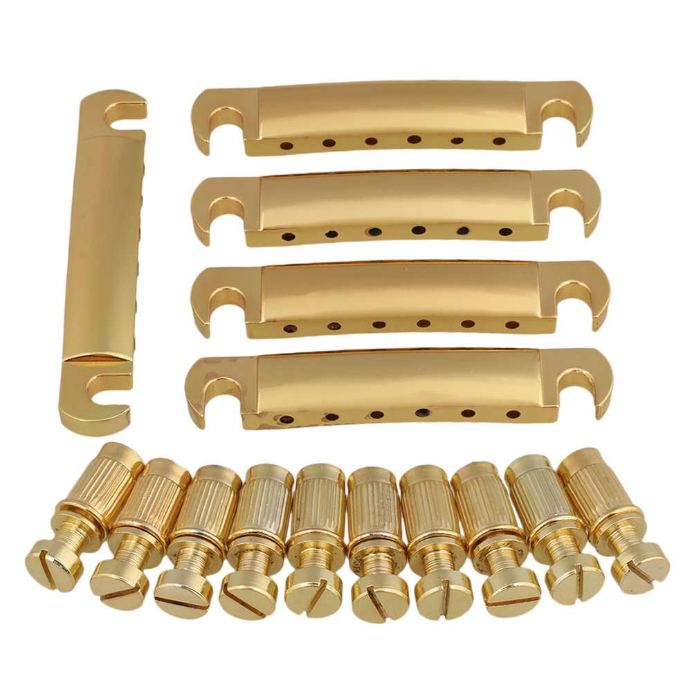 Mxfans Gold Tuneomatic Bridge Tailpiece Electric Guitar Replacement Parts Set of 5